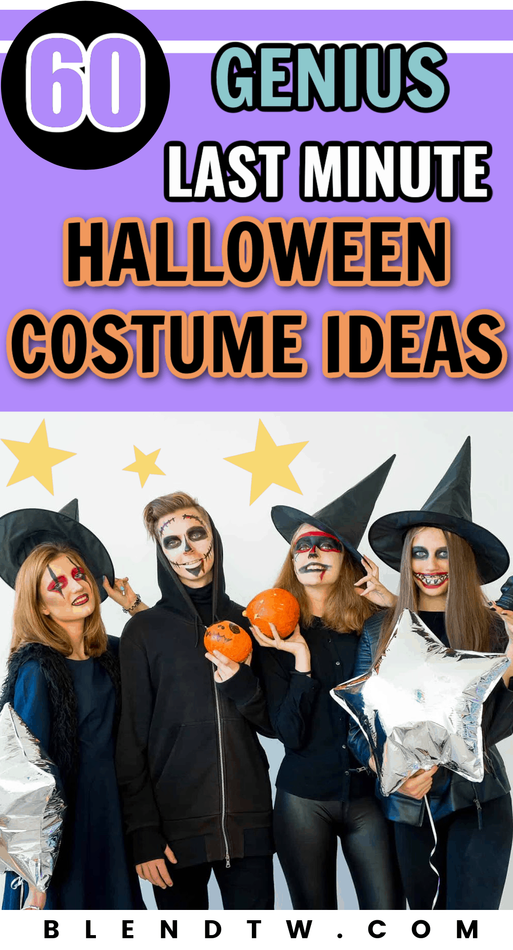 A group of four college students wearing last minute halloween costumes