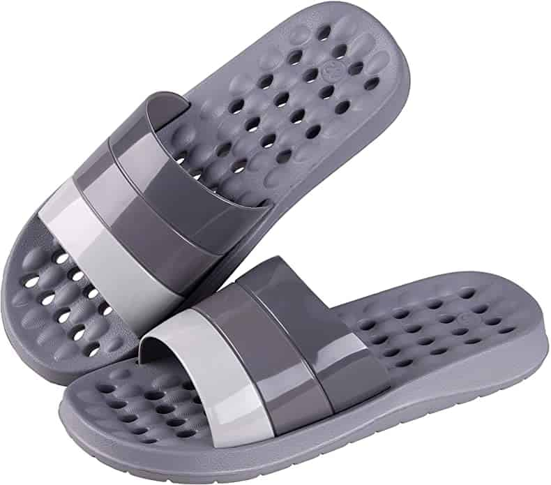 Shower Slipper, Quick Drying Non-Slip Slippers, Bathroom House and Pool Sandals, in-Door Slipper for Gym, Soft Sole (New Grey, numeric_7)