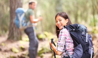 Woman in her 30s hiking as a hobby