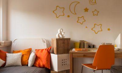 college dorm room decor with orange highlights