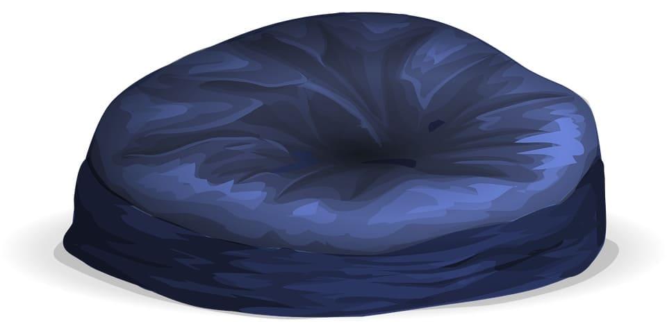 A blue bean bag chair sketch