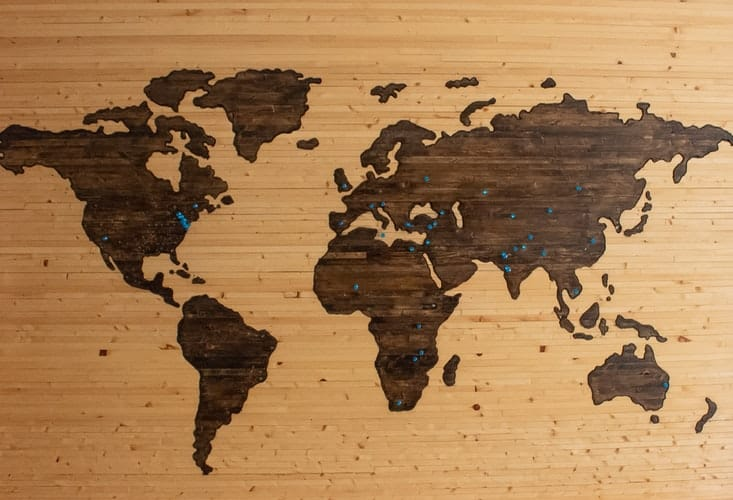A brown wooden map board