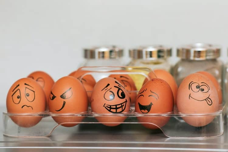 eggs with silly drawings on them
