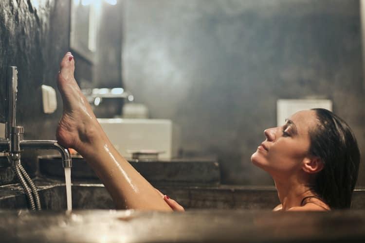 A woman in taking a bath
