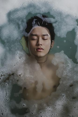 A person in a bubble bath