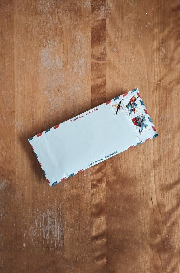 A white envelope on a table