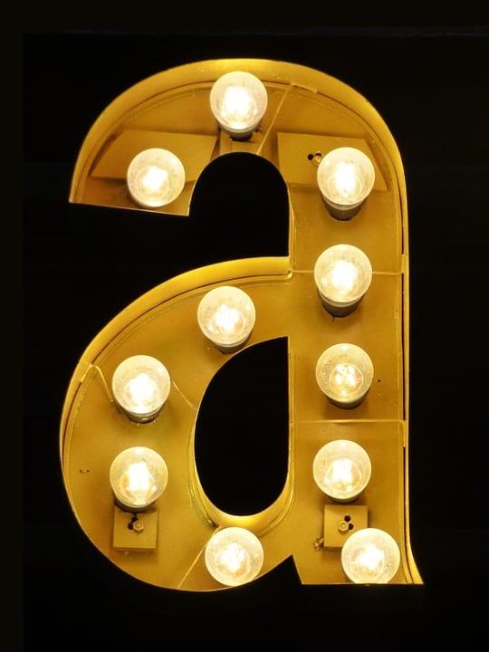 Letter A light bulbs