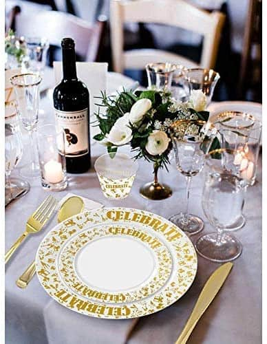 150pcs Gold Plates & Plastic Silverware & Gold Rimmed Cups, Celebrate Disposable Dinnerware Set for 25 Guest Include:25 Dinner Plates, 25 Dessert Plates, 25 Tumblers, 25 Forks, 25 Knives, 25 S...