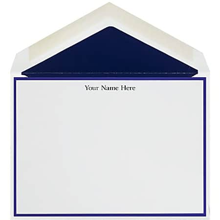The Occasions Group Stationery Note Cards 4 12 x 6 14 W 30percent Recycled Flat Midnight Border White Matte Box Of 25 - Office Depot