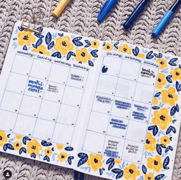 a blue and yellow coordinated calendar