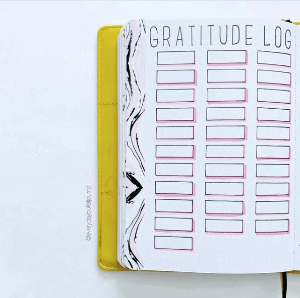 a gratitude log on a notebook