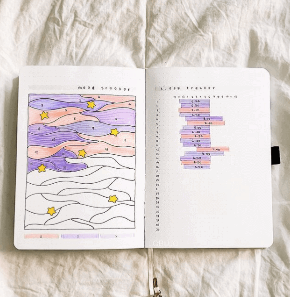 a colorful open notebook