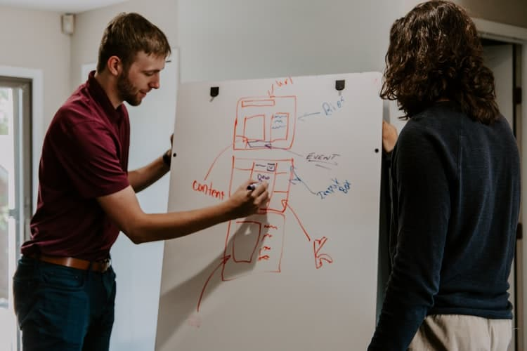 A man drawing on a white board next to a woman standing