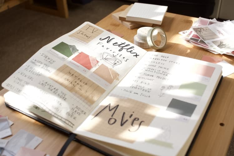 an open notebook on a table