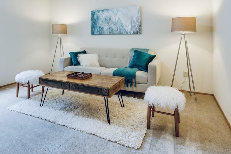 a living room with a couch corner lights and a rug