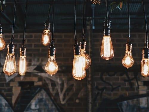 Lit light bulbs