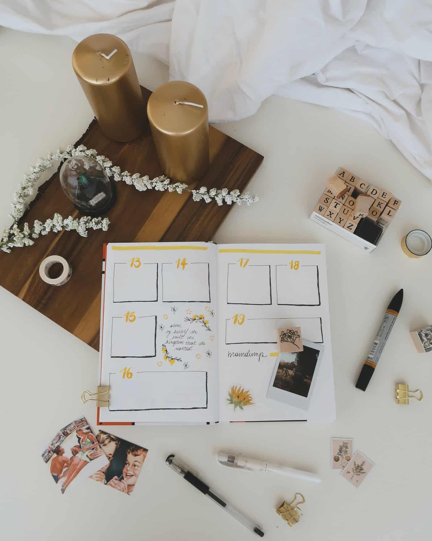 Bullet journal with a calendar