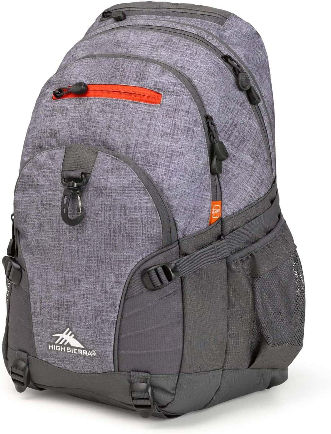 High Sierra Loop-Backpack, School, Travel, or Work Bookbag with tablet-sleeve, Woolly Weave/Mercury/Crimson, One Size