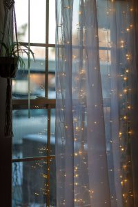 Curtains in a dorm room with lights